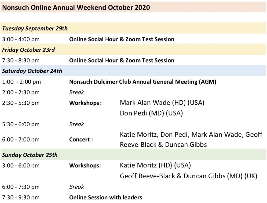 Nonsuch Anual Weekend 2020 Schedule